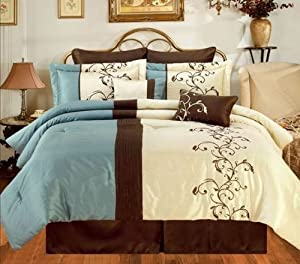 Amber Blue/Brown/Cream Oversize King 8 Piece Comforter Bed In A Bag Set