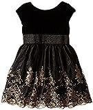 Us Angels Little Girls' Dress Floral Embroidered Skirt with Velvet Bodice