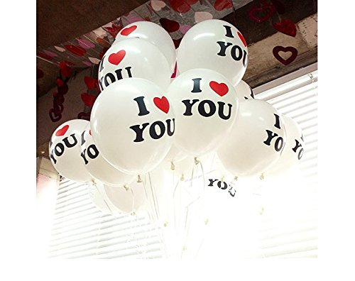 "Jackie 12 Pcs I Love You"" 12 Inch Natural Latex Balloons for Party Decoration - 1"