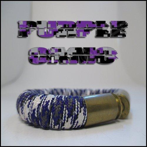 Purple Camo Paracord 40 Caliber Bullet Casing Bracelet (Bullets 40 Cal compare prices)