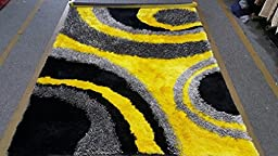 Gray Black Yellow Luxurious Elegance Shaggy Art Deco\' Design Area Rug 8\' x 10\' Hand Woven Tufted 3 Dimensional Viscose Yarns Thick Pile Bedroom livingroom Deco\'r
