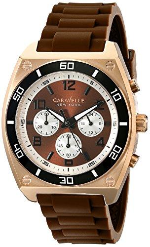 caravelle-new-york-mens-45a114-analog-display-japanese-quartz-brown-watch