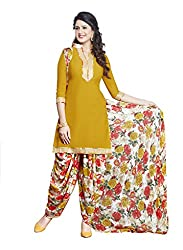 Salwar House Yellow & Multicolor Unstitched Synthetic Printed Dress Material with Dupatta