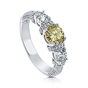 BERRICLE Rhodium Plated Sterling Silver Cubic Zirconia CZ 3-Stone Art Deco Engagement Ring Size 7