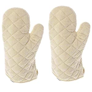 13 Inch Terry Cloth Oven Mitt Heat Resistant to 600 Degrees F Set of 2 by Update International