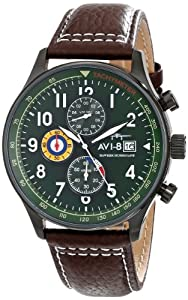 "AVI-8 Men's AV-4011-05 ""Hawker Hurricane"" Stainless Steel Watch with Brown Leather Band"