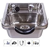 Stainless Steel Brushed Shampoo Bowl Salon Sink for Barber or Beauty Salon TLC-1167