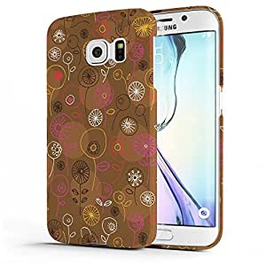 Koveru Designer Printed Protective Snap-On Durable Plastic Back Shell Case Cover for Samsung Galaxy S6 EDGE - Brown Floral