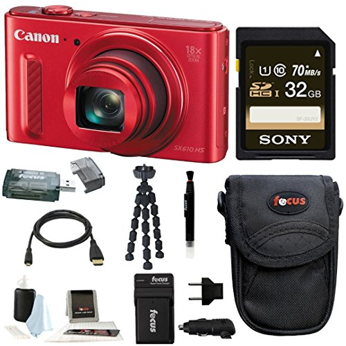 Canon Powershot SX610 HS Digital Camera (Red) w/ 32GB Deluxe Accessory Bundle (Sx600 Hs Bundle compare prices)