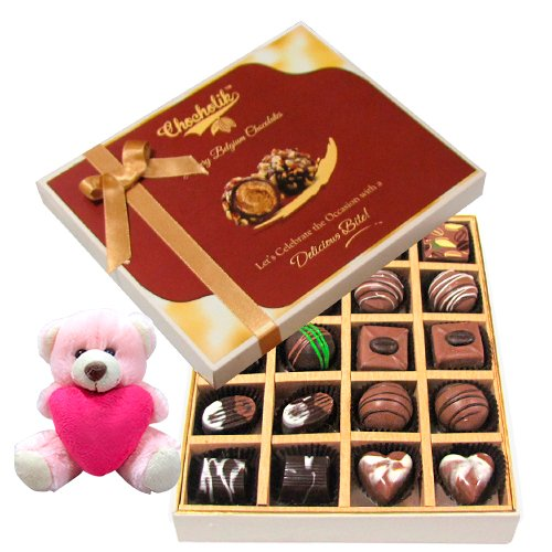 Classic Collection Of Dark And Milk Chocolate Box With Teddy - Chocholik Belgium Chocolates