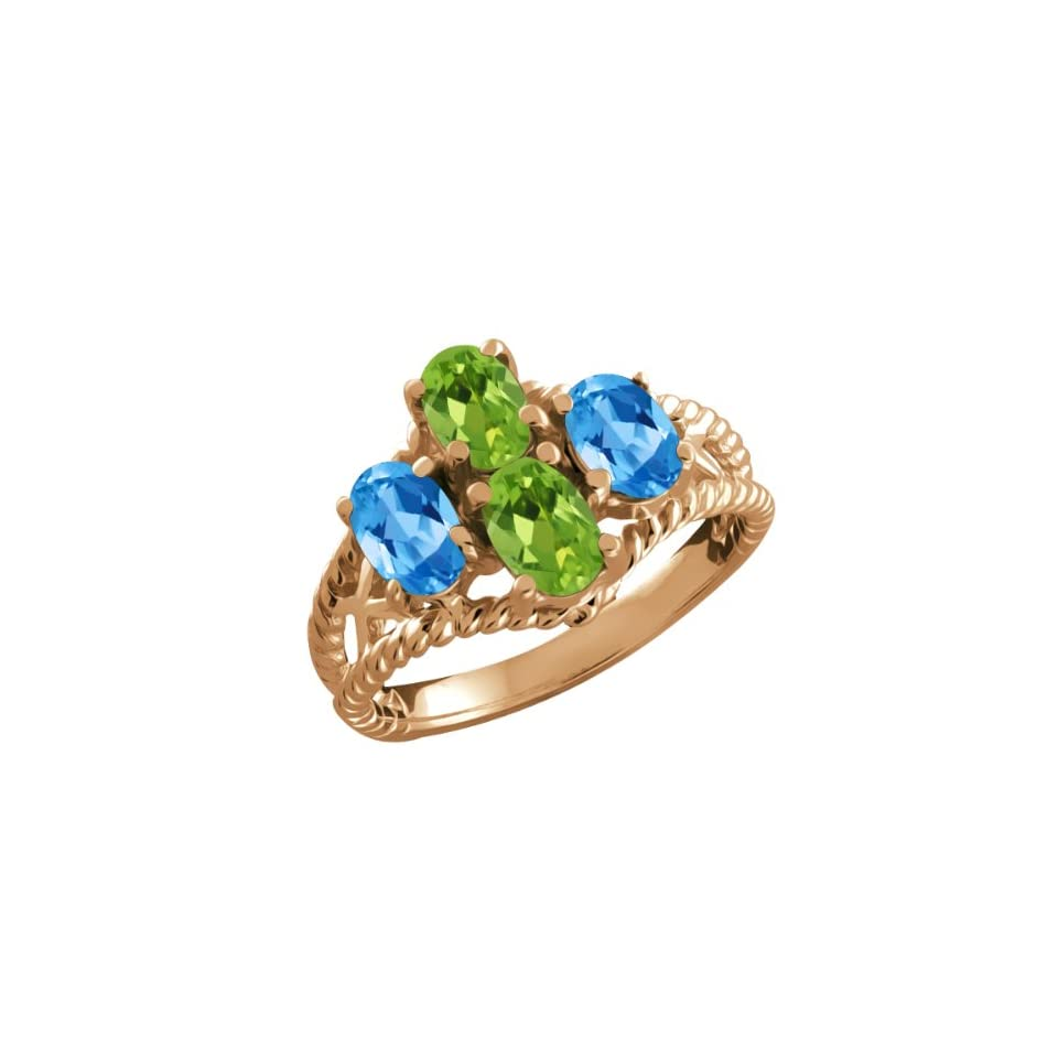 Ct Oval Green Peridot and Swiss Blue Topaz 18k Rose Gold Ring Jewelry