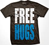 FREE HUGS Mens T-shirt, Big and Bold Funny Statements Tee Shirt, XX-Large, Brown