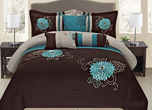 Pc embroidery bedding brown turquoise or purple lavender comforter set