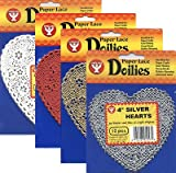 Hygloss 91049 100-Piece Heart Doilies, 4-Inch, White and Red