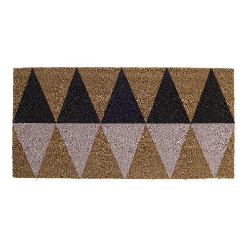 Bloomingville Kokos-Fußmatte Dreiecke schwarz/pink