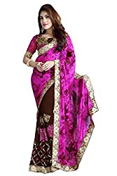 SHYAM FAB PINK COLOUR SATIN MATERIAL SAREE WITH UNSTITCHED BLOUSE
