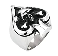 buy Bishilin Vintage Gothic Skull Biker Tribe Ace Of Spades Stainless Steel Mens Ring Size 8