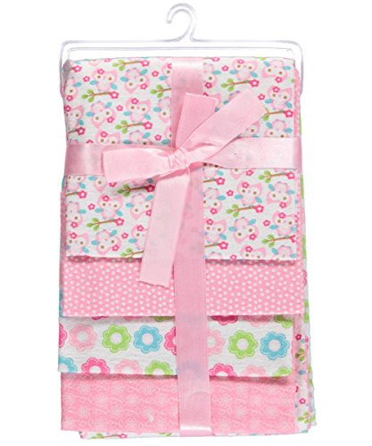 Regent Baby 4 Piece Crib Mates Receiving Blankets, Pink