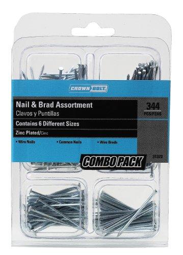 Crown Bolt 31372 344-Piece Zinc-Plated Nail and Brad Assortment