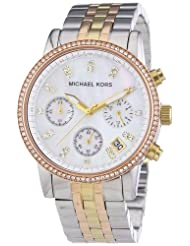 Michael Kors Women's Quartz Watch with Black Dial Chronograph Display and Silver Stainless Steel Plated MK5650
