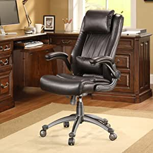 Whalen Flip Up Arm Leather Office Chair