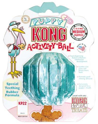 KONG Puppy Activity Ball Dog Toy, Medium, Blue