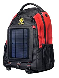 SolarGoPack 12k, solar powered backpack, charge mobile devices, Take Your Power with You, 12,000 mAh Lithium Ion Battery, Black & Red