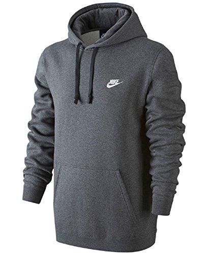 Nike Mens Sportswear Pull Over Club Hooded Sweatshirt Charcoal Heather/White 804346-071 Size 3X-Large