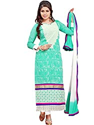 Fashion Queen Presents Sea Green Colored Unstitched Dress Material