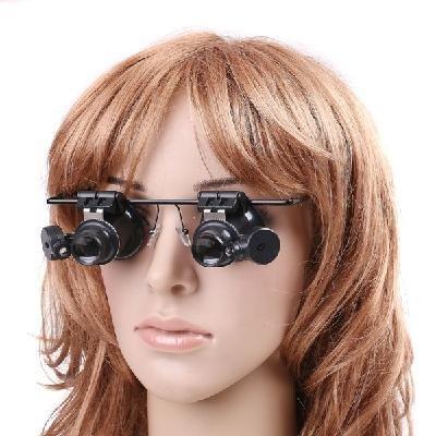 20X Magnification Dual Gauge Lens Led Light Camera Watch Repair Magnifier Eye Glass Kits