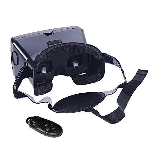 """Andoer 多機能 頭部装着 Googleダンボール版 3D VR メガネ  セルフタイマー機能 CSY-01ワイヤレスBluetooth V3.0カメラシャッターゲームパッド付き  3Dグラス  バーチャル/リアリティ ゲーム 映画 DIY 磁気スイッチ ビデオiPhone Samsung / 3.5 ~ 6.0"""" スマート対応【並行輸入品】"""