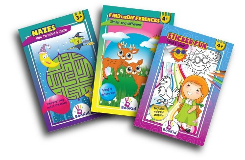 Children Activity Pads. Pack of 3. Includes a Stickers Pad, Find the Differences Pad and a Mazes Pad. For 3 & 4 Years Old
