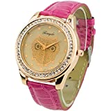 Champagne Dial Owl Women's Crystals Decorated Quartz Wrist Watch Peachpuff Band