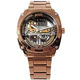 〔特価〕 テンプスケルトン 自動巻き 腕時計 ピンクゴールド×オレンジ スワロフスキー トパーズ石 ステンレス使用 [並行輸入品] [時計]