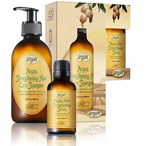Argan Hair Strengthening Shampoo & Serum Kit - Premium Set to Promote Healthy, Full & Shiny Hair - Moroccan Sulfate Free Shampoo 10.1 oz and Argan Serum 1.0 oz