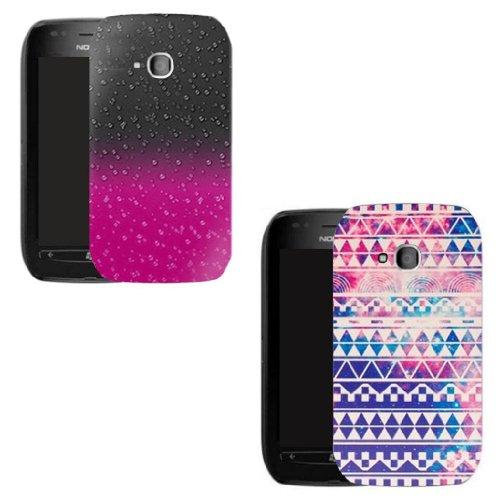 rosa und Retro Regentropfen Transparent 2 Stück set Schutz Hülle case für Nokia Lumia 610