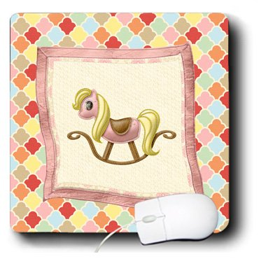 Mp_192556_1 Beverly Turner Baby Stuff Design - Baby Rocking Horse Blanket On Color Stained Glass Design, Pink, Yellow - Mouse Pads front-277468