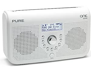Pure ONE Elite Tragbares Stereo-Radio (DAB/DAB+/ UKW-Tuner, Uhr mit Weckfunktion, Mini USB 2.0) weiß