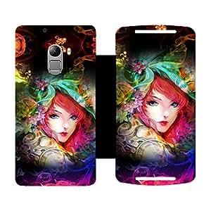 Skintice Designer Flip Cover with Vinyl wrap-around for Lenovo K4 Note, Design - Neon Girl