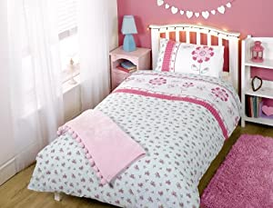 Kids Childrens Girls Pippa Floral Pink Butterflies White Aqua Single Bed Size Duvet Cover Quilt Set