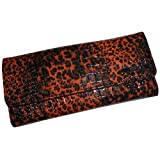 Kenneth Cole Reaction Women's Elongated Clutch Wallet Cheetah Brown