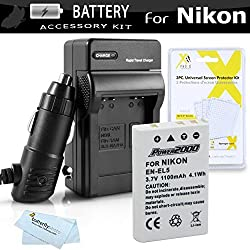 Battery And Charger Kit For Nikon P100 P500 P510 P520 P530 Digital Camera Includes Extended (1100 Mah) Replacement Nikon EN-EL5 Battery + AC/DC Rapid Charger + LCD Screen Protectors + ButterflyPhoto MicroFiber Cleaning Cloth