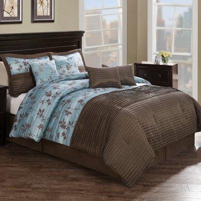 Chocolate Aqua Pleat Comforter Set With 4 Bonus Pillows King front-391834