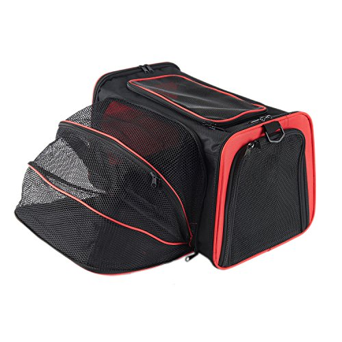Pettom Expandable Foldable Soft-sided Travel Carrier for Dog and Cat Black 19″ x 12″ x 12″ (L, Red)