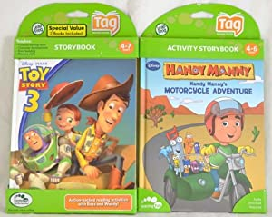 Leapfrog Leapreader/Tag book set: Toy Story 3: Together Again AND Handy Manny's Motorcycle Adventure