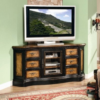 Buy Low Price North Hampton 60″ Corner TV Stand in Handpainted Rich Maple and Black (779-55-487)