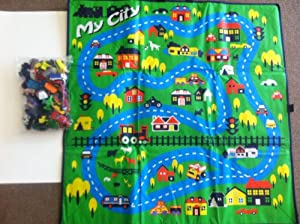 Around the City Car Playmat 36x36, Complete with Cars and Misc Hazards