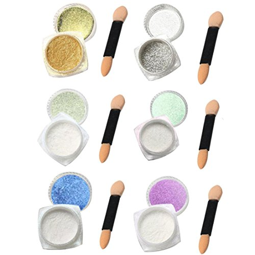 nagel kunst oyedens 6pcs 1g nagelkunst glitzerpuder gl nzenden nagel pulver kunst diy chrom. Black Bedroom Furniture Sets. Home Design Ideas