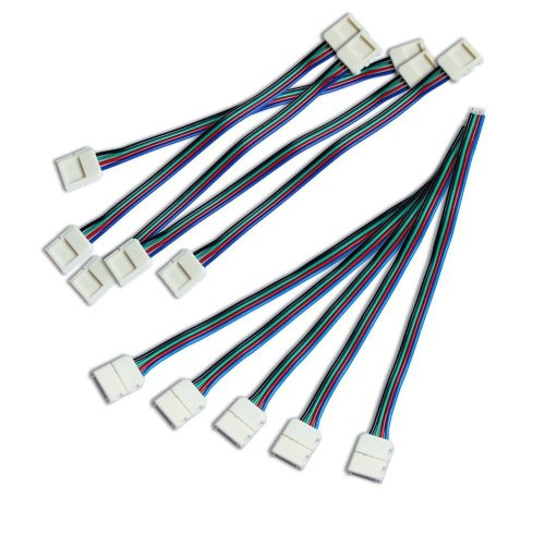 Zitrades(Tm) 5Pcs In Pack 10 To 12Mm Wide 4Pin Dual End Connector Strip To Strip Jumper Conductor Cable 5Pcs 10 To 12Mm Wide 4Pin One End Connector Led Strip Jumper Conductor Cable Use For Connecting 5050 Rbg Led Strip Lights By Zitrades