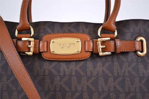 MICHAEL Michael Kors Michael Kors Leather East West Large Brown Hamilton Satchel Shoulder Purse Bag Tote